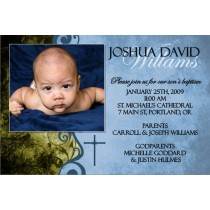 Communion / Baptism Photo Invitation 4 - Blue