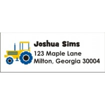 Blue Yellow Tractor Return Address Labels