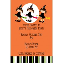 Kid Witch Halloween Party Invitation