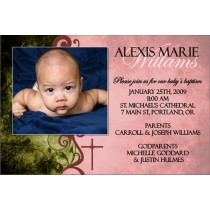 Communion / Baptism Photo Invitation 4 - Pink