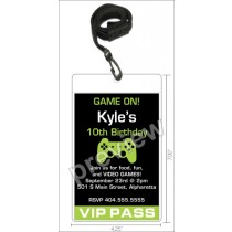 Video game VIP pass birthday party invitation