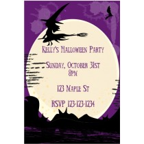 Witch on Broom Halloween Party Invitation