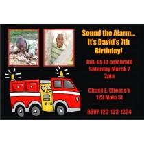 Fire Truck Photo Invitation