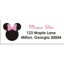 Mouse with Pink Bow Return Address Labels (Similar to Minnie Mouse)