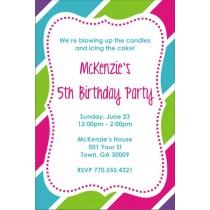 Fabulous Stripes Brithday Party Invitation