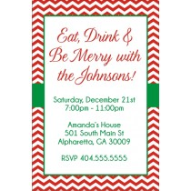 Chevron strip Christmas party invitation