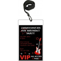 Rock Star Red Guitar VIP Pass Invitation with Lanyard