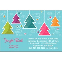 Colorful Trees Christmas Holiday Card Party Invitation