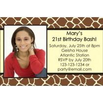 Giraffe Animal Print Photo Invitation (ALL COLORS)