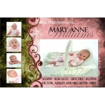 Newborn Baby Birth Announcement 3 (pink)