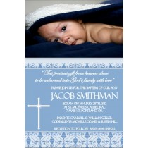 Communion / Baptism Photo Invitation 2 - Blue