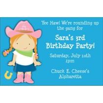 Cowgirl Birthday Invitation (Select a Cowgirl)