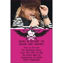 Rock Star Photo Invitation - Pink