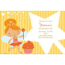 Cupcake Fairy Princess Invitation - Yellow