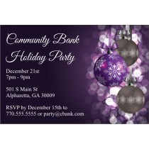 Purple Ornaments Holiday Party Invitation