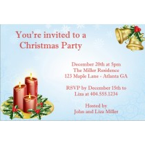 Christmas Candles Holiday Card Party Invitation