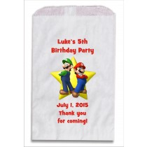 Super Mario Luigi Personalized Party Favor Bags 10 count