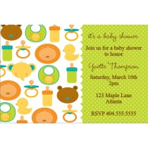 Baby Icons Baby Shower Invitation