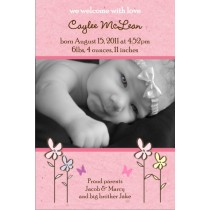 Lovely Pink Girl Photo Birth Announcement Card
