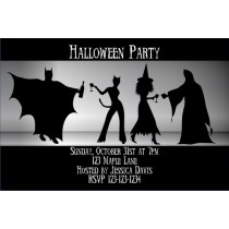 Adult Halloween Costume Party Invitation - Batman, Catwoman, Witch, Ghost
