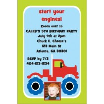 Monster Truck Invitation with Optional Photo - Red Diesel