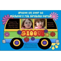 60s Retro Groovy Bus Photo Party Invitation