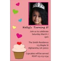 Cupcake with Hearts Photo Invitation