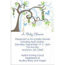 Peas in a Pod Baby Shower Invitations - Blue