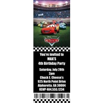 Cars Ticket Style Invitations (2.5x7)