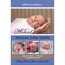 Newborn Baby Birth Announcement (blue)