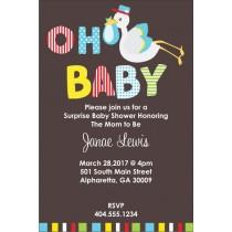 Oh Baby Stork Baby Shower Invitation