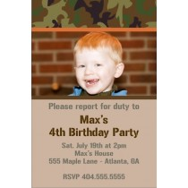 Army Military Camouflage Photo Birthday Invitation