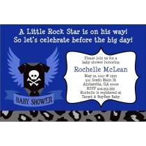 Rock Star Baby Shower Invitation - Blue