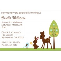 Forest Friends Baby Shower Invitation - Deer, Bunny, Bird