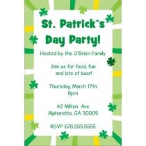 St. Patrick's Day Party Invitation - Shamrock Border