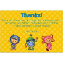 team umizoomi personalized thank you card