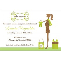 Modern Chic Mom to Be Baby Shower Invitation -Green