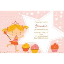 Cupcake Fairy Princess Invitation - Starry Pink
