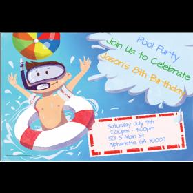 Big Splash Pool Party Invitation