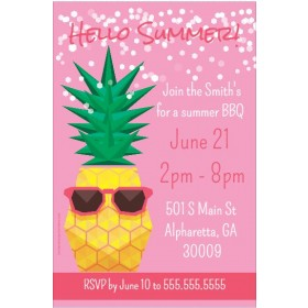 Pineapple with Sunglasses Summer Theme Party Invitation