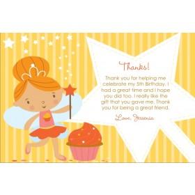 Cupcake Fairy Princess Thank You Card - Yellow