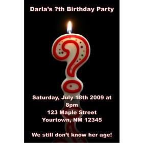 Question Mark Candle Invitation