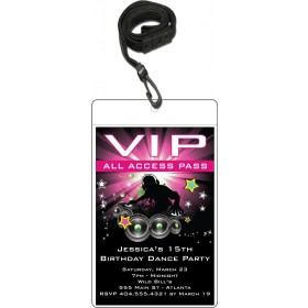 Nightclub DJ Dance Party VIP Pass Invitation w Lanyard - Pink