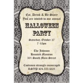 Damask Skull Halloween Party Invitation
