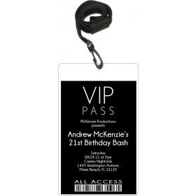 Sleek VIP Pass Invitation with Lanyard - Editable Background Color