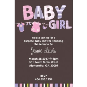 Baby Girl Clothes Baby Shower Invitation