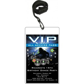 Nightclub DJ Dance Party VIP Pass Invitation w Lanyard - Blue