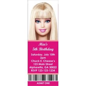 Barbie Ticket Style Invitations (slim style)