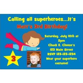 Superhero Superman Inspired Birthday Invitation