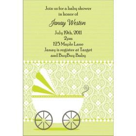 Cute Stroller Baby Shower Invitation - Green